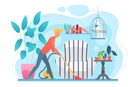 Man doing household chores flat vector illustration. Faceless guy cleaning apartment. Male figure with vacuum cleaner. Ccartoon character tidying up house. Living room interior with pet parrot