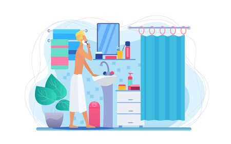 Man in bathroom flat vector illustration. Faceless male character shaving. Morning face skincare routine. Guy in bath towel. Personal hygiene concept. Bathroom interior. Grooming procedure  イラスト・ベクター素材