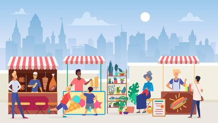 Street food market flat color vector illustration. Outdoor marketplace in megapolis. Vendors and customers. Sellers at shawarma and icecream takeaway stalls. Modern cityscape background 일러스트