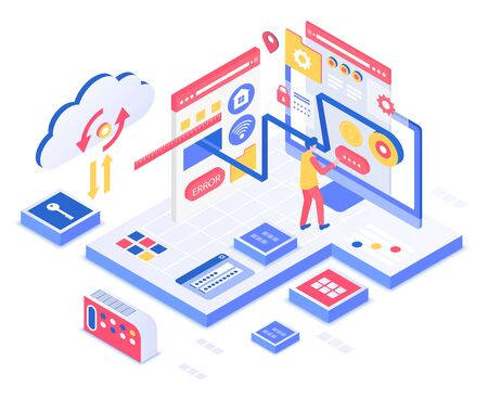 SEO isometric vector illustration. Search engine optimization service. Business, marketing. Data analysis and information management. Online technology customization cartoon conceptual design element