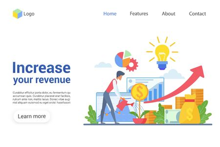 Increase your revenue landing page vector template. Revenue growth website interface idea with flat illustrations. Financial service homepage layout. Trading web banner, webpage cartoon concept