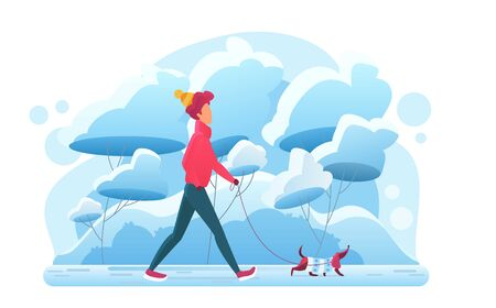 Young man walking with dog in winter park flat vector illustration. Guy with dachshund. Pet lover routine, fresh cold air leisure. Domestic animal owner on outdoor stroll in park with doggy.