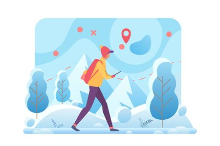 Winter hiking flat vector template. Trekking tour and walking tourism in cold winter mountains cartoon concept. Outdoor activities. Man walking in forest with navigation