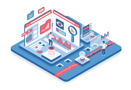 Isometrische Vektorillustration der Datenanalyse. Informationsverarbeitung. Digitale Online-Plattform. Virtuelle Technologie zur Datenauswertung. Infografik-Überprüfung. Konzeptionelles Gestaltungselement der Firmenkarikatur