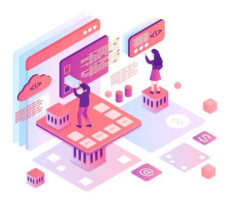 Computer programming isometric vector illustration. Software development team. Computer science. Online platform for coding education. Process management. SEO cartoon conceptual design element