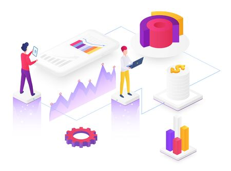Content marketing isometric vector illustration. Business strategy planning. Infographic overview. Team research. Information distribution. E-commerce and finance. SMM cartoon conceptual design Illusztráció
