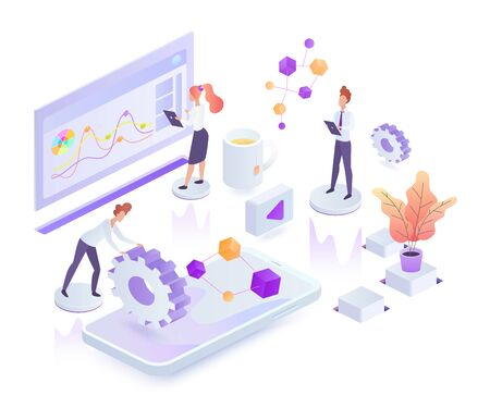Creative process white isometric vector illustration. Corporate management. Collaboration and teamwork in company. Innovative digital services. Virtual platform cartoon conceptual design element