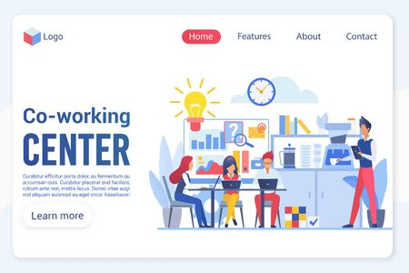 Co-working center center landing page vector template. Office structure, workplace and rest zone, company staff, employees faceless characters. Teamwork, cooperation web banner homepage design layout