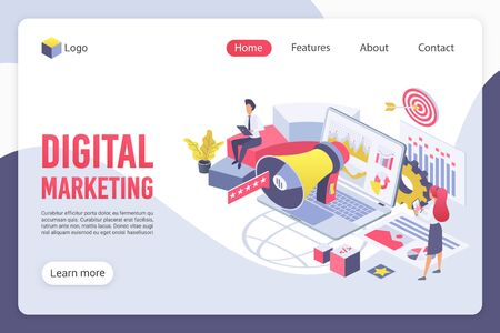 Digital marketing isometric landing page vector template. Promoters faceless characters. Social network promotion, e-commerce, Internet business development web banner homepage design layout 일러스트