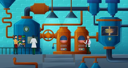 Beer factory, brewery vector illustration. Technologists, brewers flat characters. Workshop interior, brewing manufactory, beer production process, plant facilities, factory equipment work principle