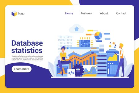 Database statistics flat landing page vector template. Office managers, analysts faceless characters. Data collection, information overview, business development web banner homepage design layout