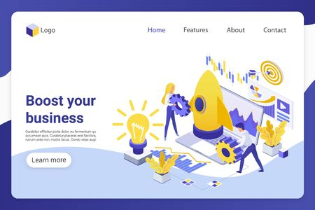 Business boost isometric landing page vector template. Businesspeople, male and female entrepreneurs faceless characters. Project development, company promotion web banner homepage design layout 일러스트