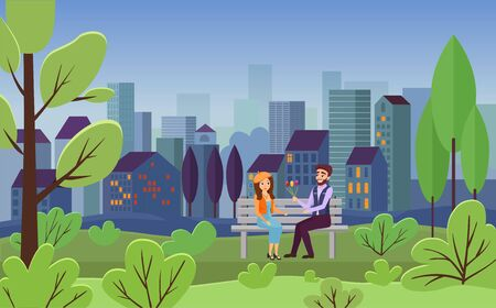 Romantic date, city leisure vector illustration. Young couple sitting on bench together, girlfriend and boyfriend with flower bouquet flat characters. Cityscape, spring summer evening