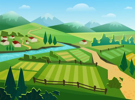 Green fields and mountains flat vector illustration. Rural landscape, countryside, village, small houses, cottages by river. Nature, ecologically clean region, hilly terrain, grassland and riverside