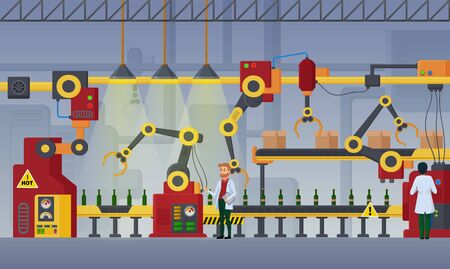 Modern factory, assembly line vector illustration. Plant workers flat characters. Workshop interior, brewing manufactory, conveyor, bottling beer process, product packaging facilities, equipment work