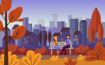 Romantic date, autumn city leisure vector illustration. Young couple sitting on bench together, girlfriend and boyfriend with flower bouquet flat characters. Cityscape, evening outdoor walk