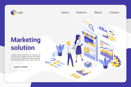 Marketing solution isometric landing page vector template. Analytics department, businessman and businesswoman faceless characters. Product promotion, market analysis web banner homepage design layout