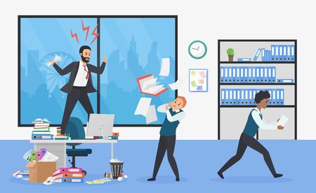 Angry boss stay on office table flat vector illustration. Frightened employees shocked by furious top manager Stressful working environment concept vector illustration.