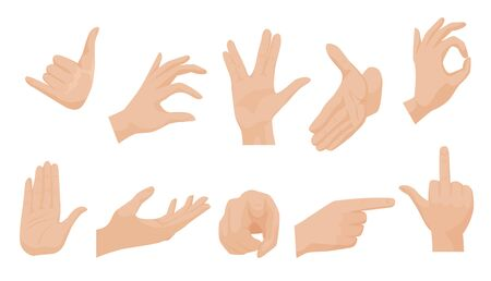 Vector flat style set of various human hands gestures. Different signs and emotions, hands representing, interactive communication.