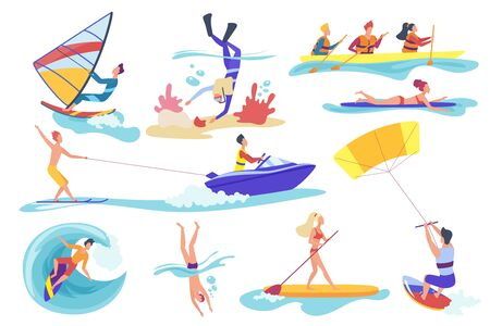 Flat cartoon different female male involved in water sports activities isolated on white background. Happy people swimming diving underwater, riding banana, kite surfing kayaking, vector illustration. 일러스트