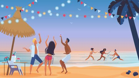 Young people friends dancing on the beach cartoon vector illustration. Young men and women, boys and girls dancing at sunset evening beach party and have fun in ocean water