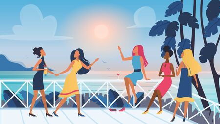 Group of vector pretty young women friends relaxing and spending time together on open air terrace with sunset sea view. Female characters drinking cocktails in club, dancing and communicating Stock Illustratie