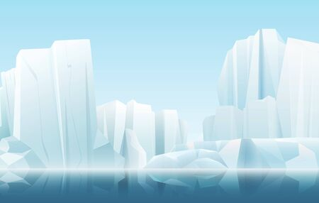 Cartoon soft color nature winter arctic icy fog landscape with crystal clean icebergs and snow mountains vector illustration Illustration