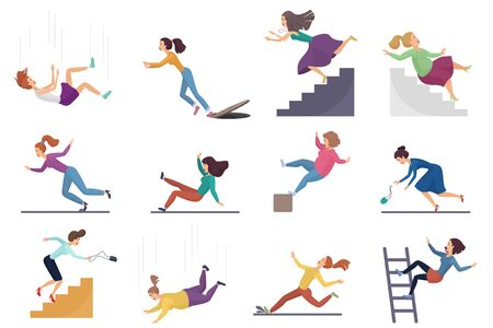 Set of cartoon vector injuring female woman falling down the stairs and over the edge, ladder, drop from the altitude, wet floor falling, stumbling on the sewer hall, tripping on stairs isolated