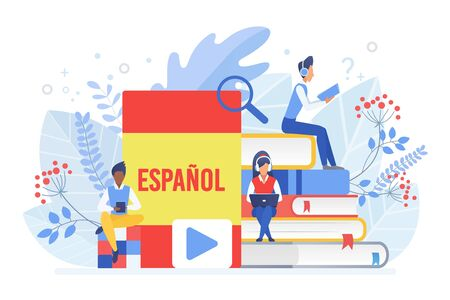Cours de langues en ligne illustration vectorielle plane. Enseignement à distance, école à distance, université d'Espagne. Cours Internet de langue espagnole, e learning clipart isolé sur fond blanc