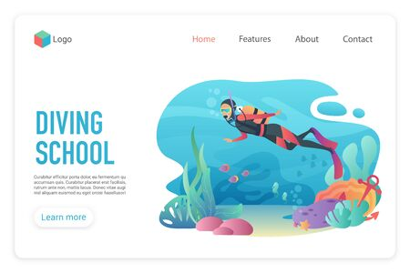 Professional scuba diver man underwater. Diveng club. Diving school landing page template vector illustration