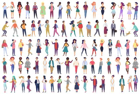 Fashionable group of male and female cartoon characters dressed in trendy clothing in different poses. Crowd of tiny people wearing stylish clothes flat gradient color vector illustration