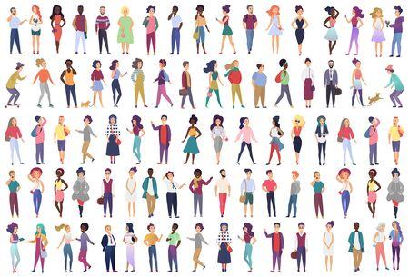 Modische Gruppe männlicher und weiblicher Zeichentrickfiguren in trendiger Kleidung in verschiedenen Posen. Menge kleiner Leute, die stilvolle Kleidung mit flacher Farbverlaufsvektorillustration tragen