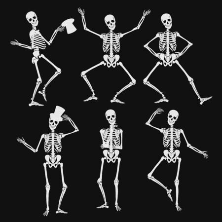 Homan skeletons silhouettes in different poses isolated on black vector illustration