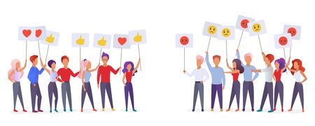 People holding emoji emotions posters flat vector illustration. Social satisfaction and stratification issues concept. Community groups protesting and expressing feelings