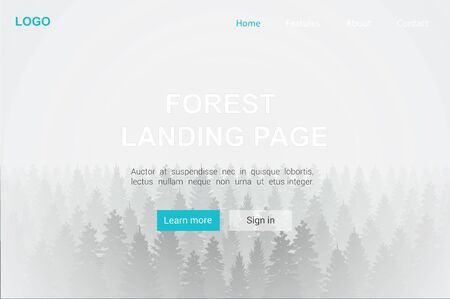 Landing page with forest in fog realistic background vector graphic illustration. Nature tree landscape template for advertising website, banner. Internet business related environment, travel, tourism