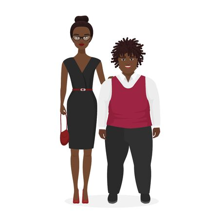 Cute african american pair, fat boy and slim stylish woman flat character vector illustration. Kid with dreadlocks, white shirt, purple vest, dark trousers. Lady in elegant dress with belt, handbag