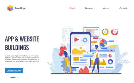 Application and website buildings landing page flat vector illustration concept. Boy and girl team creates new digital product, looks at big screen and discuss future program interface and elements