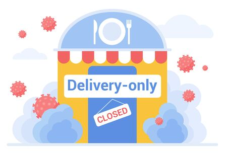Cafe, restaurant works in delivery only regime at corona quarantine flat concept vector illustration. Coronavirus attacks doors of food service establishment. Textboards closed, delivery only Vettoriali