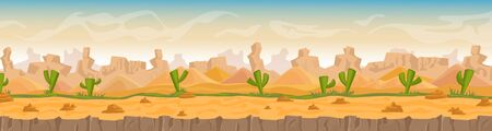 Sandy and stony hot desert landscape cartoon vector illustration background, banner. Panorama Wild waterless nature in orange colors. Green cactuses, stones, sand dunes and high mountains game style