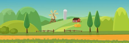 Cute rural landscape panorama with farm cartoon flat vector illustration concept. Panoramic Green fields, hills, trees, haystack, dirt road, wood hedge in front, windmill, house, grain elevator  イラスト・ベクター素材