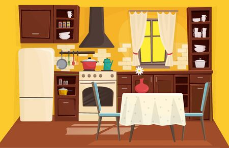 Cute kitchen interior flat cartoon vector illustration concept background. Sunny bright space, window with nice certains, compact situated furniture, household appliances, vase with flower on table