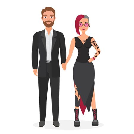 Cute original couple man and woman character flat vector illustration concept. Portrait girl in alternative fashion clothes with coloured hair and tatoo, her boyfriend in classic business suit