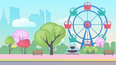 Entertainment park in big city cartoon flat landscape background vector illustration concept. Blue sky, many trees, ferris wheel with colored cabs, cascade fountain, wooden benches, without people
