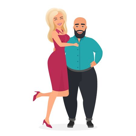 Happy smiling cute couple character flat vector illustration concept. Beautiful blond lady on heels in elegance purple dress stands, flirts and hugs her heart friend, overweight bald bearded man