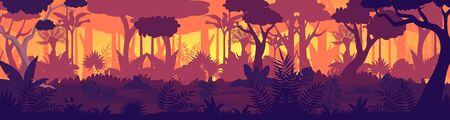 Vector Tropical jungle sunset silhouette panorama background. Golden Sun rays in wild forest, lush vegetation become dark. Trees, lianas, grasses change colors from light to night shadows game design Vectores