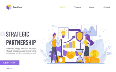 Perspective strategic partnership flat design vector illustration landing page template. Discuss agreement, business growth, meeting and brainstorming, strategic partnership, crowdfunding.