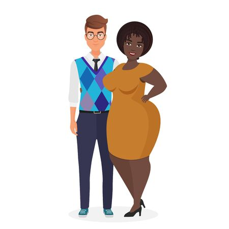 Mixed race atypical weird interracial couple character flat vector illustration. Portrait caucasian thin guy and black african american puffy fat girlfriend in elegant dress. Unequal marriage  イラスト・ベクター素材