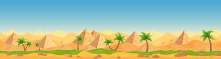 Egyptian desert Panoramic view cartoon vector illustration landscape, banner. Similar pattern panorama Afro Asian tourist country, hot weather, sand, blue sky, dunes, pyramids, palms game style
