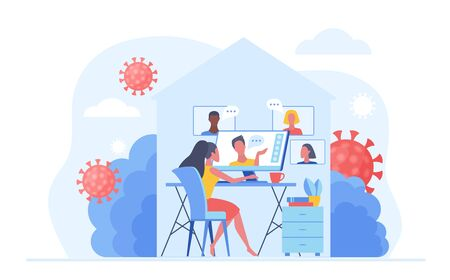 Work at home during COVID-19 quarantine virus to prevent a viral infection. People working online, video meeting conference and chat at home. Social-distance concept vector illustration Векторная Иллюстрация