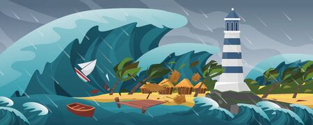 Tsunami flat cartoon seascape panoramic landscape vector illustration background. Panorama of Horrific natural disaster, giant wave, covers serene little island with lighthouse, palm huts and yachts 写真素材 - 144738723